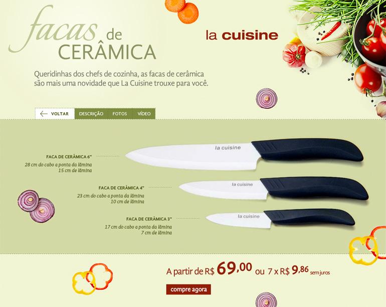 Hotsite Facas de Cerâmica La Cuisine